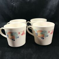 Set of 4 Corning Ware Corelle ABUNDANCE Coffee Cups Mugs Fruit Pattern