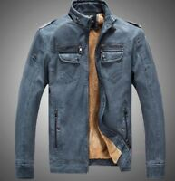 Chic Winter Men Warm Coat Stand Collar Fur Lined Faux Leather Zip Fashion Jacket