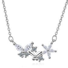 Elegant 925 Sterling Silver Austrian Crystal Butterfly Flower Pendant Necklace