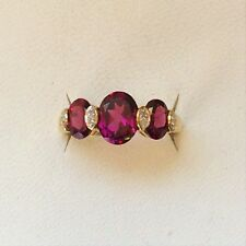 925 Gold Plated Sterling Silver Red Ruby & Diamond Three-Stone Ring - Size P
