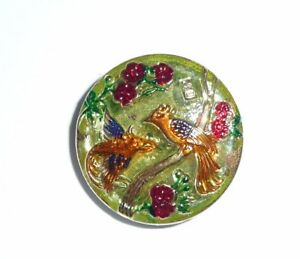 Pretty Hand Painted Czech Glass Flowers & Birds Button - Blue, Gold, Red, Green