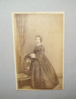 Old Antique Vtg 1860s Young Woman CDV Photograph Civil War Era Standing Nice