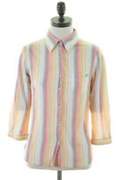 WOOLRICH Womens Shirt 3/4 Sleeve Size 12 Medium Multi Stripes Cotton