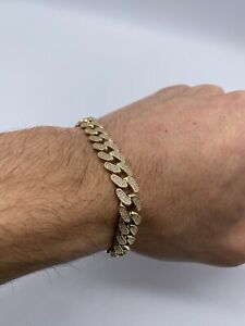 9ct Yellow Gold Hallmaked Gents Cuban Curb 10.0mm Link Cz Bracelet - DM 4 Chain