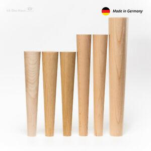 4x Laubholz Sofa,Stuhl,Schrank oder Tischbeine Massivholz schräg o. gerade Buche
