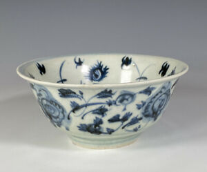 Antique Chinese Blue And White Porcelain Bowl With Flowers Ming Dynasty