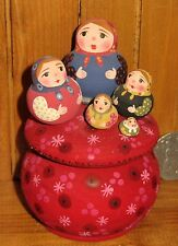 Genuine Russian Matryoshka WOODEN HAND PAINTED Box 5 MINIATURE NESTING DOLLS