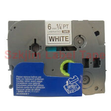 """Black on White 1/4 x 26"""" Label Tape Compatible for Brother TZ-211 TZe-211 6mm 8m"""