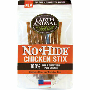 "Earth Animal No-Hide CHICKEN STICKS Dog Treat 4.5"" 10 pak MADE IN USA"