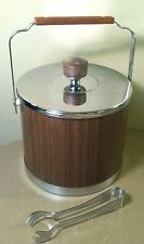 Large Kromex Ice Bucket Brown Woodgrain Chrome Bar Retro Vintage Mid Century