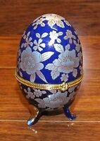 """4"""" Tall Porcelain Floral Design Egg Shaped Trinket / Jewelry Box With Hinged Lid"""