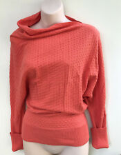 LAZYBONES Asymmetrical Coral Shade Herringbone Knitted Jumper/Top sz XS (8-10)