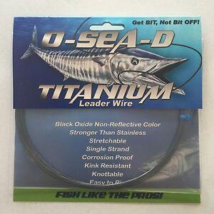 O-Sea-D Titanium Leader Wire 40LB Test, 50FT Coil Black Oxide