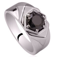 925 Sterling Silver Men Ring Size 11 with 6-prong Black CZ Fashion Jewelry
