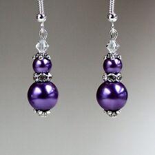 Purple pearls crystals vintage silver drop earrings wedding bridesmaid gift