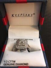 Keepsake Sterling Silver Genuine Diamond 1/2 Carat Engagement Ring Size 7