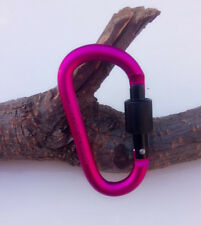5 pieces Pink Aluminum Lock Carabiner Clip Snap Hook Screw Keychain Camping