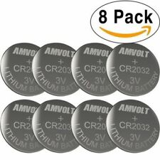 8 Pack AmVolt CR2032 Battery 220mAh 3 Volt Lithium Battery Coin Button Cell 2020