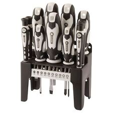 Draper 21 Piece Screwdriver and Bit Set White With Storage Stand 29896