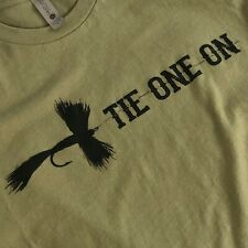 TIE ONE ON Fly Fishing T Shirt drinking beer trout