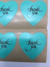 "100 Heart Shaped Blue/Aqua Thank You Stickers 1 3/8"" Labels Wedding ScrapBook"