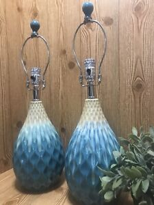 Pair Of Ceramic Turquoise Table Lamps Textured Pear Shaped Teal Blue Sand Beach