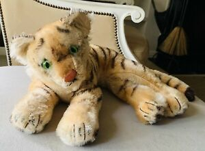 """Vintage Steiff """"Tiger"""" stuffed animal,  15""""?, 1950s ❤️"""