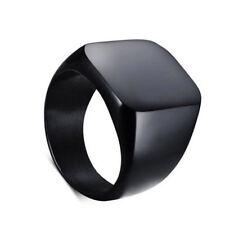 Silver Gold Black Men Alloy Solid Polished Signet Rings Biker Ring Hot