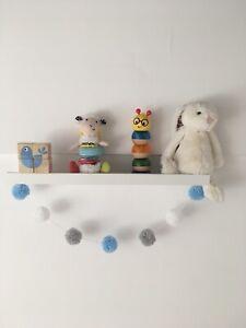 Pom Pom Garland Wool | Pastel Blue White Grey | Nursery Decor | Boys Room