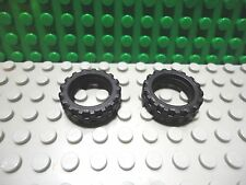 Lego 2 Black 21x6 mm rubber motorcycle wheel tire vehicle car truck NEW