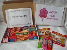 Retro Sweets Gift Box 16th Birthday Girl FREE personalised message (45 sweets)