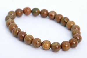 "8MM Petrified Wood Jasper Bracelet Grade AAA Genuine Natural Round Beads 7"""