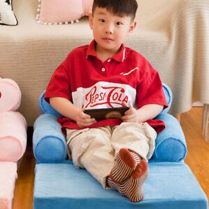 Mini Cartoon Kids Fold Sofa Cover Washable Chair Seat Slipcover Blue