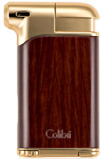 Colibri Pacific Angled Pipe Flame Butane Lighter w/ Tamper Reamer Wood Gold 9107