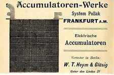 Elektrische ACCUMULATOREN- WERKE Frankfurt a.M. Historische Reklame von 1896