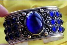 Tibet silver inlay Blue Jade cuff style men's tribe open Bracelet