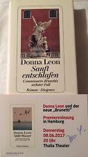 Donna leon firmado mapa original firma firma autógrafo Venecia