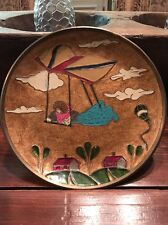 Vintage Enamel Brass Round Plate Balloons, Clouds And Hang Glider