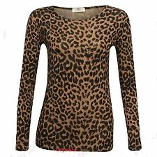 Ladies Women's Brown Leopard Print Long Sleeve Stretch Viscose Tee Top  8 To 16