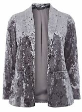 Evans Grey Crushed Velvet Blazer Size UK 30 rrp £45 DH082 HH 07