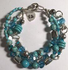 "Triple Strand Turquoise & Tibetan Silver, 8"", Hook Clasp"