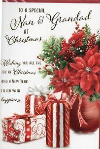 Nan And Grandad Christmas Card Trad Design By Prelude Cute Size 20cm x 14cm