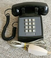 Vintage AT&T Black Western Electric 2500DMG (82095) Button Touch Tone Desk Phone