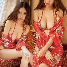 Lingerie sexy Kimono satin + soutien gorge + string  3 pièces - Taille M