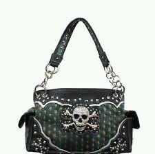 Concealed Carry Handbag w/Rhinestone Skull And Crossbones