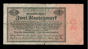 Deutschland Germany 2 Rentenmark 1923 Ro. 155 F - VG