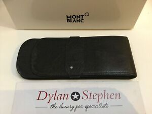 Montblanc black leather three pen pouch