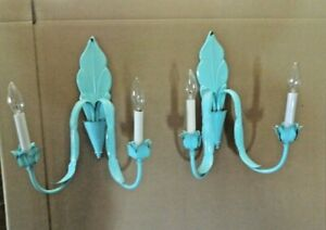 Antique Pair Of Refurbished Electric Wall Sconces Color Lite Turquoise W Bulbs