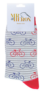 MR HERON MENS BICYCLE BIKE SOCKS BAMBOO - GREY - ONE SIZE UK 6-11