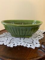 Vintage Haeger Pottery Green Oval Ribbed Ceramic Footed Planter Bowl #3938 USA